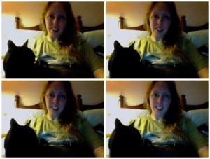 Cat on lap. Four photos. Selfie.