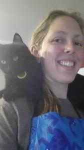 cat on shoulders