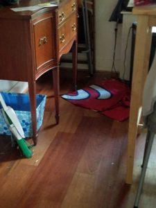 blanket in the corner of kitchen